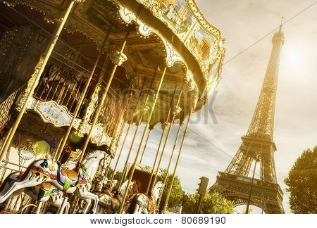 vintage carousel and the Eiffel Tower