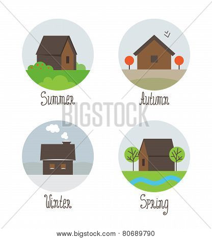 vector set of village houses icons