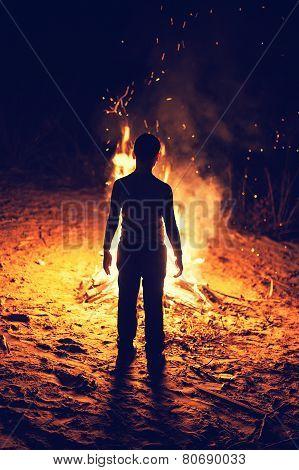 Boy Near A Bonfire