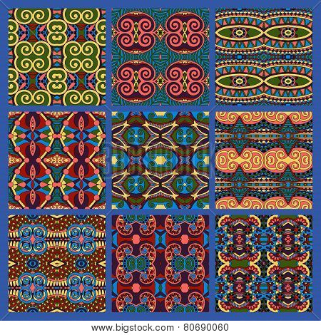 different seamless colored vintage geometric pattern