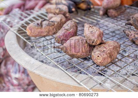 Grilled Sweet Potato On Sieve