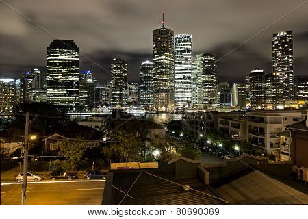 Brisbane cityscape by night on the Brisbane river