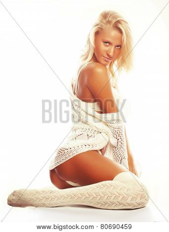 sensual blond girl in white lingerie and socks