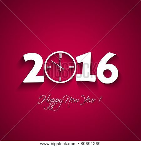 2016 Happy New Year  With Clock Shape On Red Background