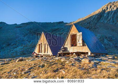 Mountain Hut In The Morning Sunshine