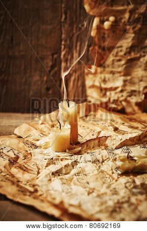 Vintage Still Life With Music Notes