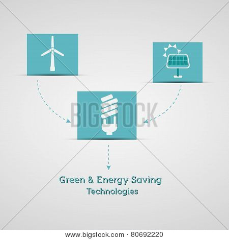 Green And Energy Saving Technologies Poster, Banner. Ecology Info Graphics Collection - Energy Indus