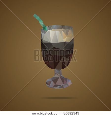 Polygonal Cup Of Coffee With A Green Tubule On A Brown Background. Triangle Design