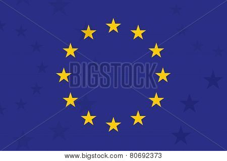 European Union Flag. With Additional Stars On Background. Unusual Design. Original Proportion And Co