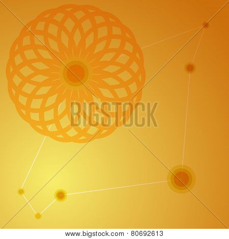 Orange Juice Background. Round Flower Ornament Design. Can Be Used As Infographic
