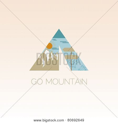 Mountain Camp Logo Design Template. Adventure Symbol Vector Concept. Tent With Landscape. Unique Ico