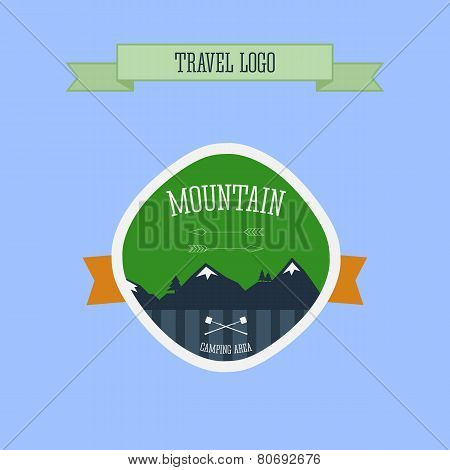 Mountain Camping Logo, Label And Badge. Travel Emblem