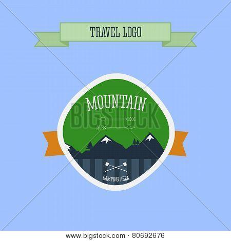 Mountain Camping Logo, Label And Badge. Travel Emblem