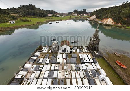 Landscape With Cemetery And River In Barro, Asturias. Spain