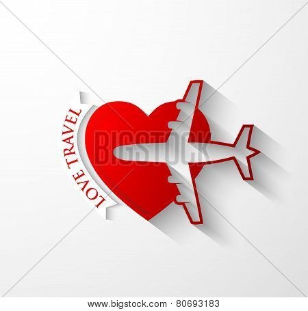 Red Silhouette Of Jet Airplane On Heart Shape