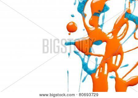 Splash Of Blue And Orange Nail Polish