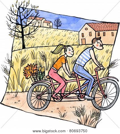 Couple Riding Tandem