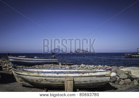 Boat Of Fisherman In The Aeolian Islands
