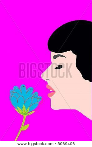 The Girl's Face And A Flower.eps