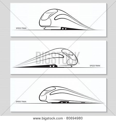 Set of modern speed train silhouettes and contours