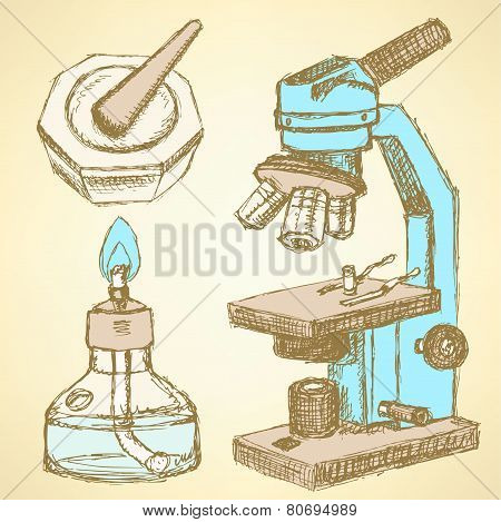 Sketch Microscope In Vintage Style