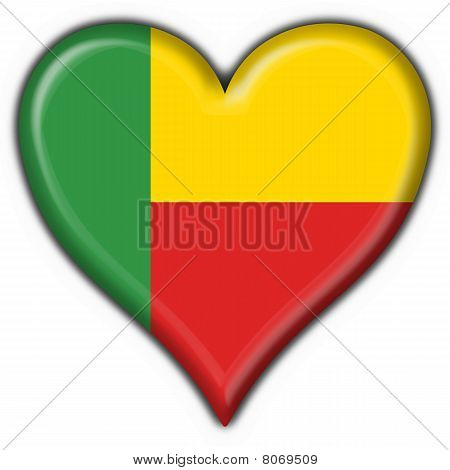 Benin Button Flag Heart Shape
