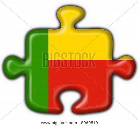 Benin Button Flag Puzzle Shape