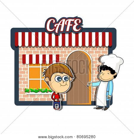 Vintage cartoon cafe illustration