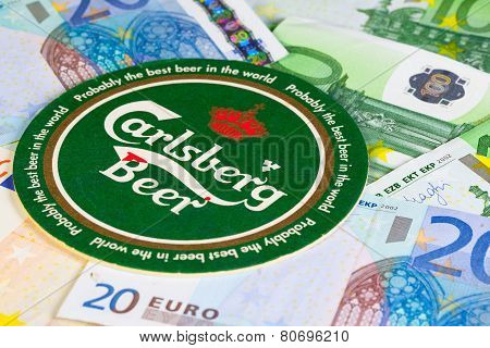 Beermat From Carlsberg Beer And Eur Money.