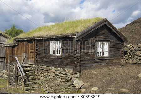 Traditional timber house of copper mines town of Roros, Norway.