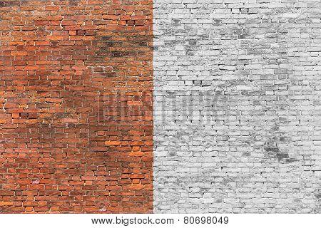 Old Brick Wall Half-painted
