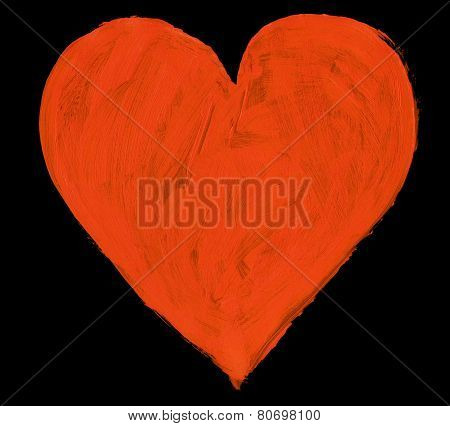 Red Handpainted Heart Isolated On Black