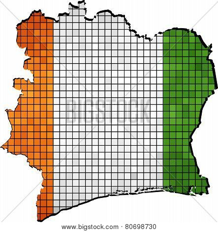 Ivory Coast map with flag inside