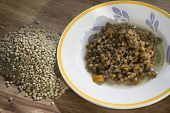 pic of legume  - raw legumes with stewed soup of lentils - JPG