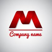 pic of letter m  - Icon of red paper business logo icon  letter m - JPG