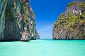 stock photo of koh phi-phi  - Picture perfect tropical Maya bay on Koh Phi Phi Le Island - JPG