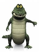 picture of gator  - An adorable cartoon crocodile doing a thumbs down with his hand - JPG