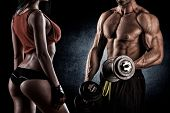stock photo of abdominal muscle  - young couple people involved in sports - JPG