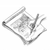 picture of interior sketch  - Hand drawing kitchen interior sketch in notebook with pencil vector illustration - JPG