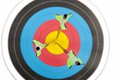 picture of longbow  - Three arrows hitting the bull - JPG