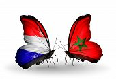 stock photo of holland flag  - Two butterflies with flags on wings as symbol of relations Holland and Morocco - JPG