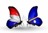 stock photo of holland flag  - Two butterflies with flags on wings as symbol of relations Holland and Nauru - JPG