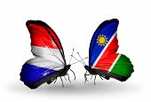 picture of holland flag  - Two butterflies with flags on wings as symbol of relations Holland and Namibia - JPG