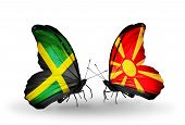 picture of macedonia  - Two butterflies with flags on wings as symbol of relations Jamaica and Macedonia - JPG
