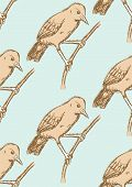 stock photo of ovenbird  - Sketch rufous hornero bird in vintage style vector seamless pattern - JPG