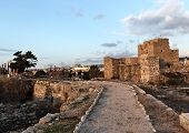 pic of crusader  - Byblos Crusader Castle at Sunset in the old city - JPG