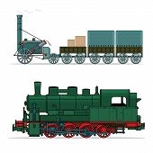 pic of passenger train  - Set of train design elements vector - JPG