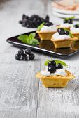 image of mountain-ash  - canape with cottage cheese black berries of mountain ash and fresh mint leaves on a white wooden background - JPG