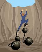 stock photo of shackles  - Vector illustration of a man in debt hole - JPG