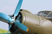 foto of propeller plane  - Radial engine with propeller of single - JPG
